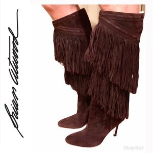 Brian Atwood Suede Knee High Fringe Boots